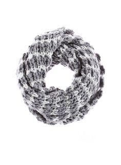 Rainbow Striped Wide Chunky Knit Infinity Scarf