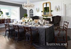 At Christmastime, a Chicago North Shore designer executes a stylish sister act in her brother's classic dining room