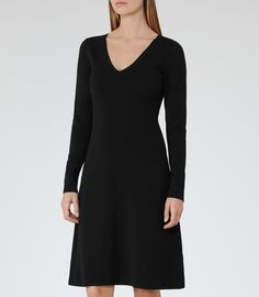 Emelia  Black Knitted Fit And Flare Dress - REISS
