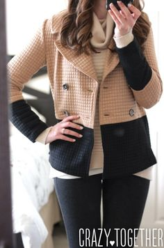 In love with this coat. The two-tone colors make it really versatile and the shape of it looks so flattering.