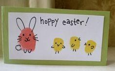"""fingerprint art """"hoppy Easter"""" :D Spring Crafts, Holiday Crafts, Holiday Fun, Easter Craft Activities, Easter Crafts For Kids, Easter Ideas, Bunny Crafts, Easter Decor, Hoppy Easter"""