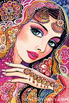 """indian bride art beautiful Indian woman painting Indian decor bollywood affordable art gifts, feminine decor, beauty painting print - This article is based on an original painting, named """"Kumari"""". You are considering a handmade-quali - Indian Women Painting, Indian Art Paintings, Painting Prints, Art Prints, Painting Art, India Art, Inspiration Art, Painted Ladies, Canvas Art"""