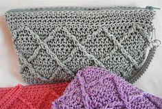 Clutch Crochet PATTERN Raised Diamonds by FunCrochetDesigns