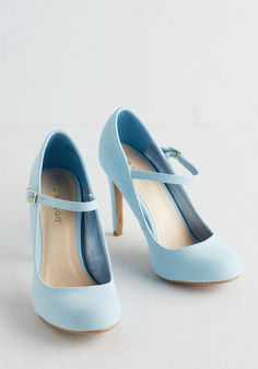 Shoe Had Me At Hello Heel in Sky. Its sure to be love at first step when you buckle into these pastel blue Mary Jane heels. #blue #prom #wedding #bridesmaid #modcloth