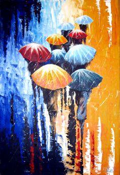 Original Painting Rain Acrylic- 50% OFF - Umbrellas Rain Painting - Blue Red Orange -  Abstract Landscape - Large Size