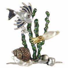 Oceania South Sea Keshi pearl, blue sapphire, paraiba tourmaline, tsavorite garnet, and white and brown diamond brooch by Autore