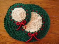 Crocheted Holiday/Christmas Placemat & Hot Mat - Set of 5. $20.00, via Etsy.
