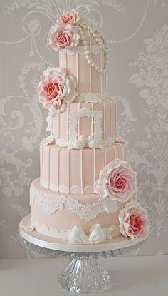 Vintage peach & pink birdcage cake | Flickr - Photo Sharing!