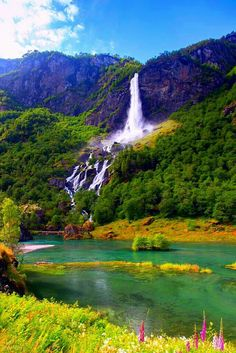 Waterfall in Aurlandsfjord, near Flåm, Norway