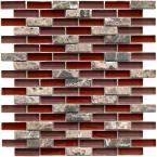 Burgundy Red Glass Mosaic Wall Tile Stone Mosaic Kitchen
