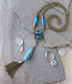 Excited to share the latest addition to my #etsy shop: OOAK Glass Bead & Tassel Necklace Bronze Chain Blue Lampwork Opaque Glass Hippie Style Long Boho Necklace Chain-tassel Handmade Glass Bead http://etsy.me/2GLL56v #jewelry #necklace #blue #bronze #girls #thanksgivin