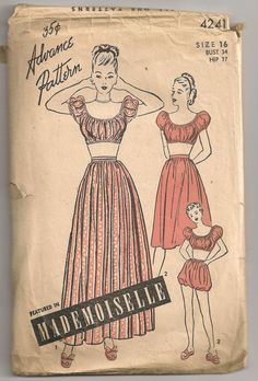 There's such a fun gypsy-boho vibe to these wonderful 1940s summer fashions. #1940s #sewing #pattern #dress #skirt #top #playsuit #summer #clothing