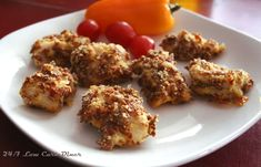 Pepperoni Crusted Chicken Nuggets. Low Carb, gluten free.