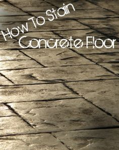 Concrete floors can be very handy, but as-is theyre not very visually appealing. Staining is one way to make your concrete floor look beautiful and furniture-worthy. The process is lengthy, but relatively simple. Here is a summary of what youll be doing: (for full tutorial go to: http://www.diylife.com/2008/05/16/staining-and-sealing-concrete-its-easy/) Before you
