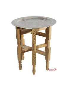 Moroccan Tray Table In Silver Maillechort With Cederwood Legs
