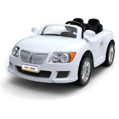 Monster Trax Convertible Car 12-Volt Battery-Powered Ride-On, White. Two seat belts. Up to 88lbs.