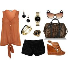 Rust and Black Summer Casual Outfit