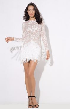ddb1b4fd024718 Madly Deeply White Long Sleeve Fringe Dress. Fashion Genie Boutique USA