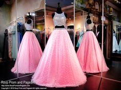 Mirror, Mirror, On The Wall, You'll be the Prettiest of them All in this fun yet elegant two-piece ball gown with its ultra beaded crop top! All will bow down and it's at Rsvp Prom and Pageant, your source for the HOTTEST Prom and Pageant Dresses! Pink Prom Dresses, Mermaid Dresses, Pageant Dresses, Quinceanera Dresses, Homecoming Dresses, Pretty Dresses, Bridal Dresses, Beautiful Dresses, Awesome Dresses