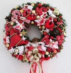 XXL Türkranz ♥ Weihnachten ♥ Winter ♥ Rot-Weiß-Gold ♥ im Landhaus - Tilda - Stil | eBay