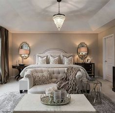 Love her bedroom sanctuary…  @farahjmerhi . #lovefordesigns#homedecor #homedesign#fixerupper#interiordecor#luxury#newhome#lighting#homeinspo#living#designideas#interiors#decor#homeinspo#instadesign#hogar#casa#interiorinspo#staging#realestate#bedroomdecor#bedroominspo