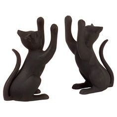 {Curious Cat Bookend (Set of 2)} lightweight aluminum kitties to hold up your books. cute