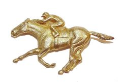Fully Hallmarked Sterling Silver & GOLD PLATED Horse Racing Brooch