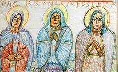 Nikifor KRYNICKI (1895 - 1968) Trzy święte kredki, papier; 9,4 x 14,5 cm; Princess Zelda, Illustration, Fictional Characters, Art, Paint, Art Background, Kunst, Illustrations, Performing Arts