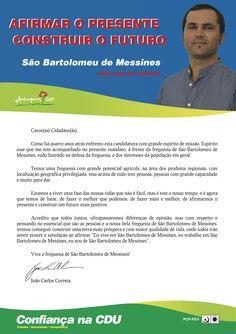 Carta do Candidato Cabeça de Lista pela CDU à Junta de Freguesia de São Bartolomeu de Messines.  Autarquias 2013. #Silves #SãoBartolomeudeMessines #CDU #Autárquicas2013