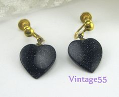 Vintage Earrings Blue Goldstone Heart screw back gold by Vintage55, $15.00
