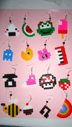 .Perler bead earrings - they are just so cute!