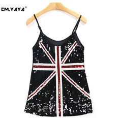 CMYAYA 2016 New Women Casual Summer Black Sleeveless Spaghetti Strap English Flag Sequined Mesh Patchwork Fashion Tank at our web shop http://www.aliexpress.com/store/536244