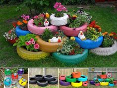 Check out the tutorial to see DIY garden planter project, which shows how old tires can be upcycled into charming and colorful garden planters. Tire Planters, Garden Planters, Concrete Planters, Garden Crafts, Garden Projects, Fun Projects, Outdoor Projects, Outdoor Ideas, Project Ideas