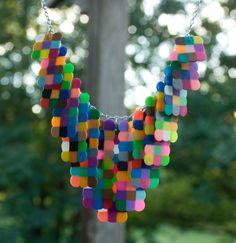 Handmade+Multicolored+Plastic+Bead+Statement+Bib+by+TheGlim,+$26.50