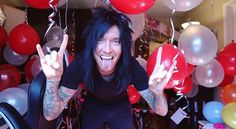 Jake Pitts, having woken up on his birthday to find that his wife Inna had decorated his recording studio overnight Jake Pitts, Black Veil Brides Andy, Memphis May Fire, Thin Lizzy, Andy Black, Geek Games, Motionless In White, Of Mice And Men, Bring Me The Horizon