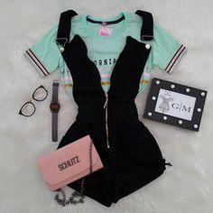 Mais meigo impossível 📸✨😍 ✔️T-shirt 💰 24,00 reais à vista. ✔️Macaquinho 💰 125,00 reais à vista. ✔️Óculos 💰 35,00 reais à vista. ✔️Relógio 💰… Teen Fashion Outfits, Cute Fashion, Outfits For Teens, New Outfits, Girl Outfits, Cute Casual Outfits, Cute Summer Outfits, Stylish Outfits, Tumblr Outfits