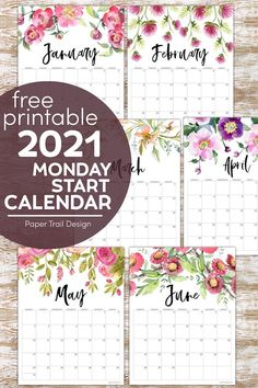 2021 Monday start floral calendar is perfect you those who want a calendar that adds to your decor and groups the weekend together. #papertraildesign #2021calendar #2021mondaystartcalendar #2021mondaystart #2021floralcalendar #2021mondaystartfloralcalendar