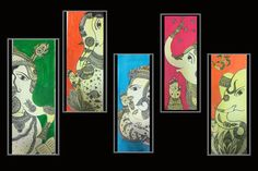 Giclee of Ganesh painting& Mudakarma ganesh by MyCuteFrills Saree Painting, Kalamkari Painting, Madhubani Painting, Mural Painting, Silk Painting, Ganesha Painting, Ganesha Art, Ganesh Tattoo, Indian Art Paintings