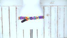 Vintage colorful woven braided leather belt/boho/hippie leather link belt/xxlarge by GreenCanyonTradingCo on Etsy