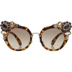 Miu Miu Embellished Cat-Eye Sunglasses (€399) ❤ liked on Polyvore featuring accessories, eyewear, sunglasses, glasses, one color, tortoise sunglasses, embellished sunglasses, black and white cat eye sunglasses, miu miu sunglasses and tortoise glasses