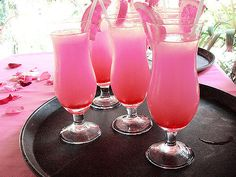 (minus the alcohol this could be good for the mermaid party) Barbie Doll Cocktail 1 oz Malibu Rum 3 oz Pineapple Juice 1 oz Raspberry Sour Puss 3 oz Serve with strawberry Cocktails Vodka, Non Alcoholic Drinks, Beverages, Cocktails 2018, Malibu Rum, Malibu Coconut, Pink Drinks, Summer Drinks, Pink Mixed Drinks