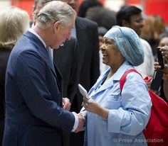 The Prince of Wales meets staff at King's College Hospital in London, 23 January 2014.