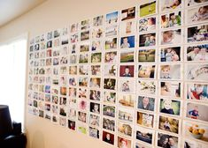 DIY photo wall ~ like the idea, but i wouldn't tack them to the wall.  wonder if spray adhesive would work or some sort of stick-um??