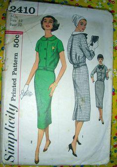 SALE Vintage 50's Pattern 2410 TwoPiece Middy Dress by anne8865