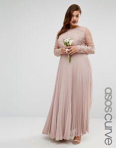 ASOS Curve | ASOS CURVE WEDDING – Plissiertes Maxikleid mit hübschem Spitzenbesatz