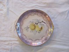 Vintage Imperial China Fruit Plate with Golden Delicious Apples