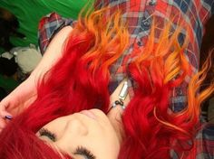 Fire Hair i want to do this next ( : awesome Ombre hair Orange Ombre Hair, Dyed Red Hair, Dye My Hair, Yellow Hair, Orange Yellow, Blue, My Hairstyle, Cool Hairstyles, Scene Hairstyles