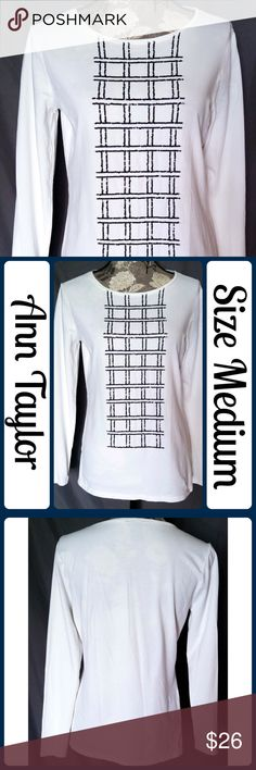 "NWOT Sz M Ann Taylor White Sequin Top So cute and perfect dressed up or down! Brand new without tags! 100% Cotton. Across Bust 19"", Length 25"" from center back, Sleeve from armpit to end 19"" No rips, tears, or stains.... From a smoke-free, dog friendly home, No trades!! (T27) Ann Taylor Tops Tees - Long Sleeve"