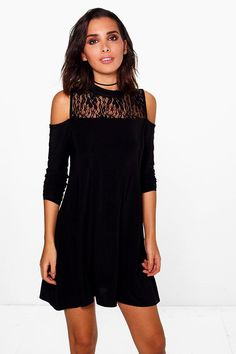 Faye Lace Insert Cold Shoulder Swing Dress