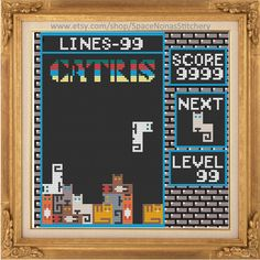 Cat Tetris Cross Stitch Pattern by SpaceNonasStitchery on Etsy